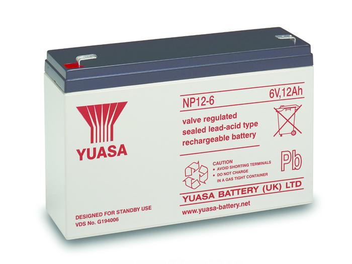 Bateria chumbo 6 V - 12 AH - YUASA - NP12-6
