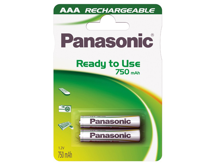 PANASONIC 1.2 V - 750 mAH NiMH AAA battery - 2 unit blister back