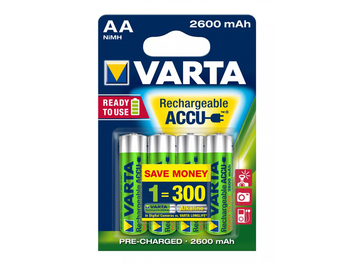 VARTA - 1.2 V - 2600 mAH NiMH AA battery - 4 unit blister pack