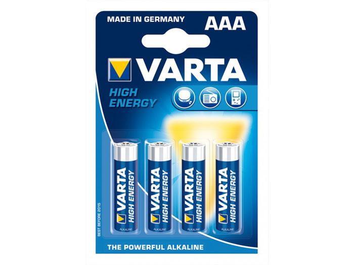 Pilha alcalina 1,5 V AAA - VARTA - blister 4 unidades