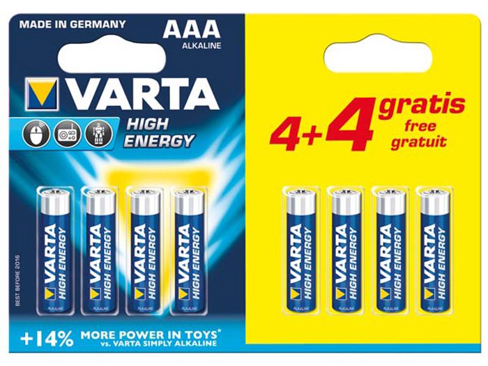 Pilha alcalina 1,5 V AAA - VARTA - blister 8 unidades