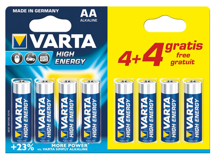 VARTA - 1.5 V AA alkaline battery - 8 unit blister pack