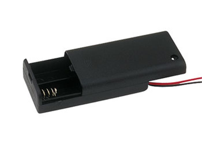 Suporte 2 pilhas AA com cabo e interruptor