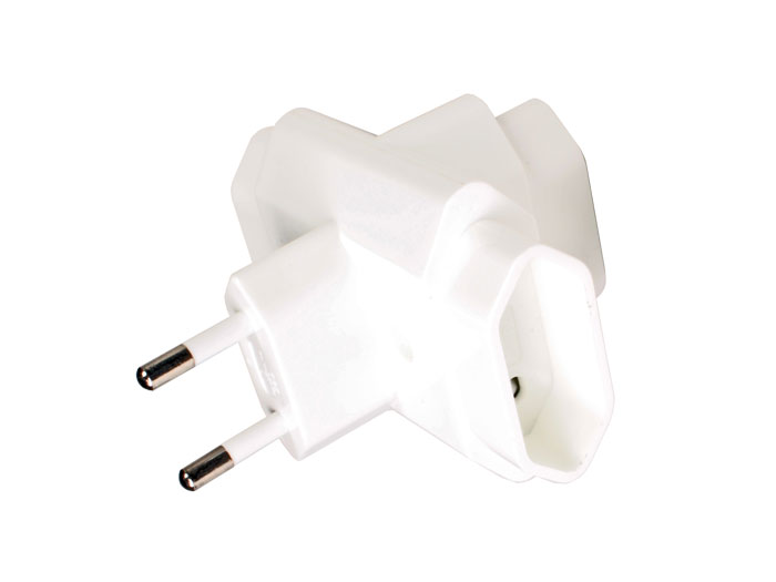 Triple European Plug Adapter - Ungrounded