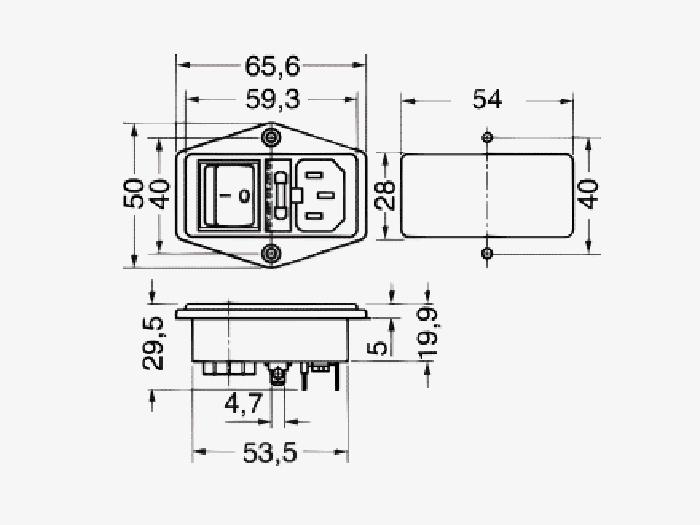 Connecteur de châssis mâle CEI 60320 C14 avec porte-fusible et double interrupteur d'éclairage