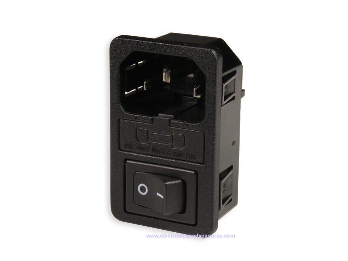 Conetor IEC 60320 C14 Chassis Macho com Porta fusível e Interruptor