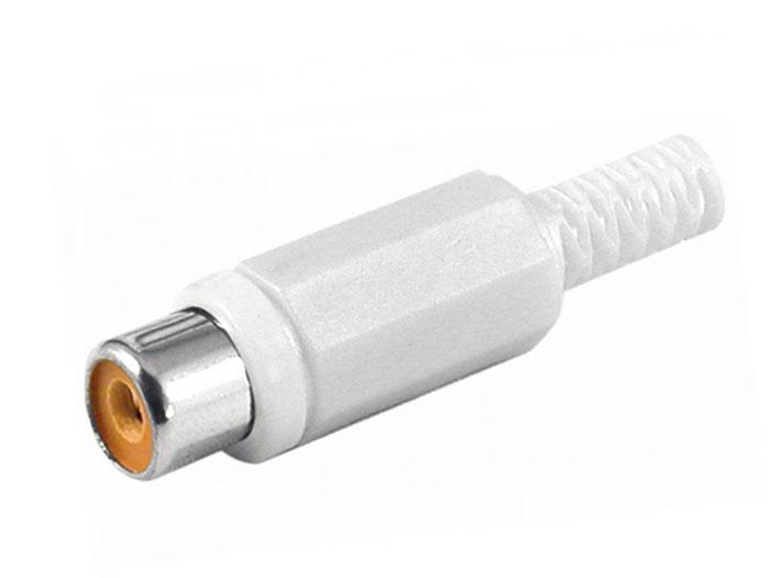 Conector RCA Aéreo Hembra Recto de Plástico - Blanco