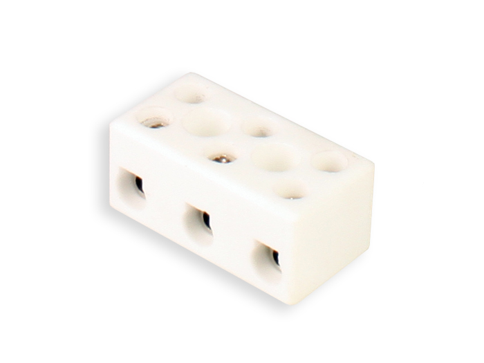 Ceramic Terminal Block 3 Contacts 2.5 mm - White - 10.735/3