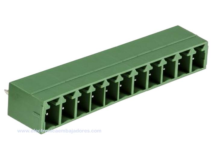 REGLETA CLEMA PCB ENCHUFABLE MACHO RECTO 3,81MM 11 CONTACTOS