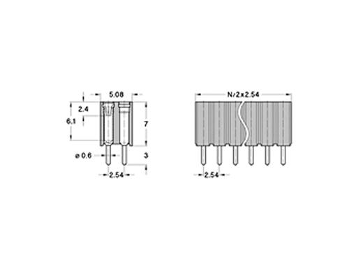 Régua de Pinos Torneados 2,54 mm Fêmea Reta Duplo Comprimento - 72 Polos - 02-803.87.072.10.001