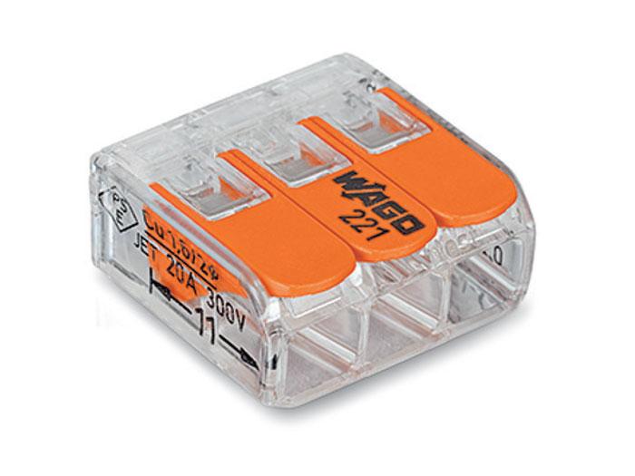 Wago 221-413 - Conector Empalme 3 Contactos Hasta 4.0 mm² - 92214130