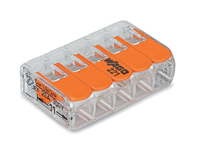 Wago 221-415 - Conector Empalme 5 Contactos Hasta 4.0 mm² - 92214150