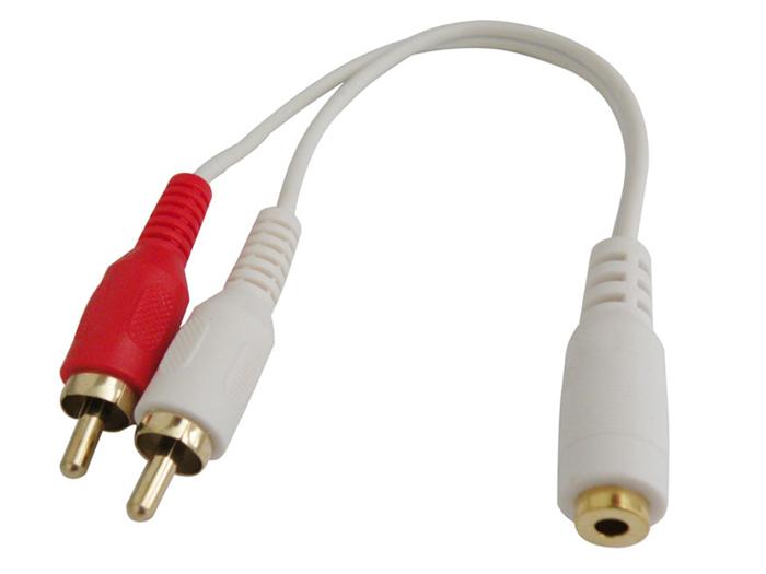 Conexión Jack 3,5 Hembra a 2 RCA Macho - 0598