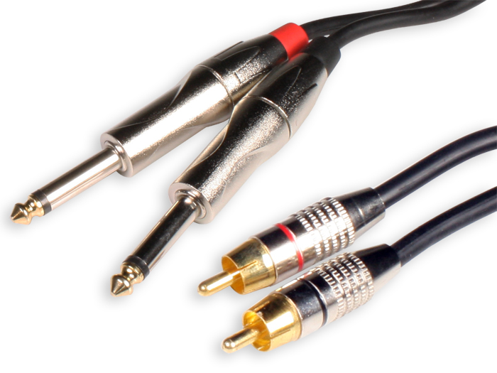 2 6.3 Mono Jack Male to 2 RCA Male Cable - 3 m