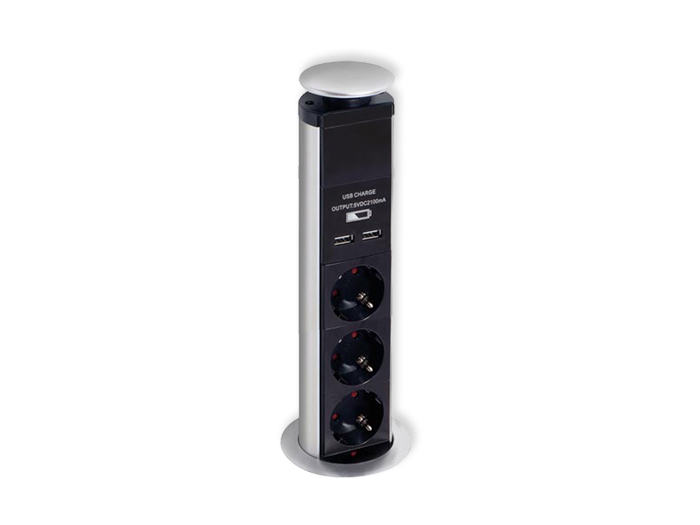 Hidden Outlet Adapter with 3 SCHUKO Sockets + 2 USB ports