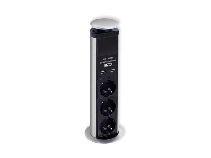 Bloco Tomadas Ocultas - 3 SCHUKO + 2 USB