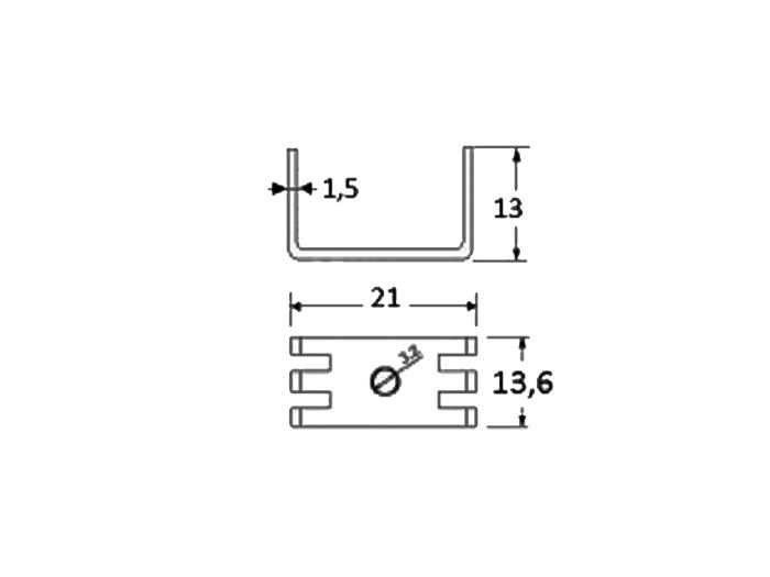 Dissipateur Thermique 13,60 x 21,0 x 13,00 mm TO220 - 2905.8