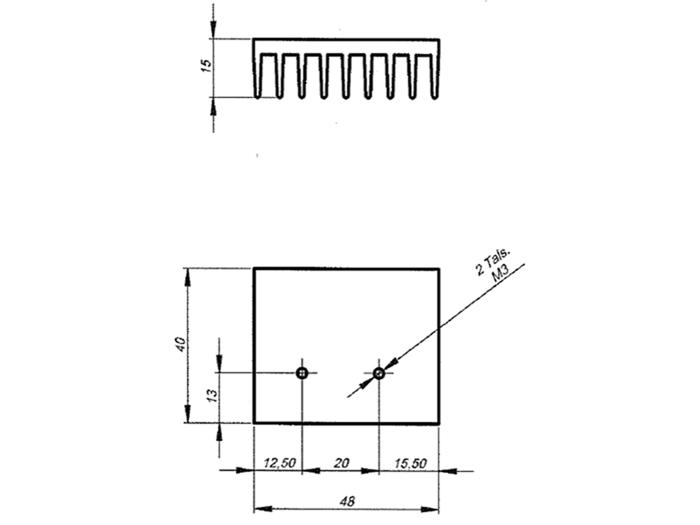 Dissipador de Calor 48 x 40 x 15 mm - P4815/40