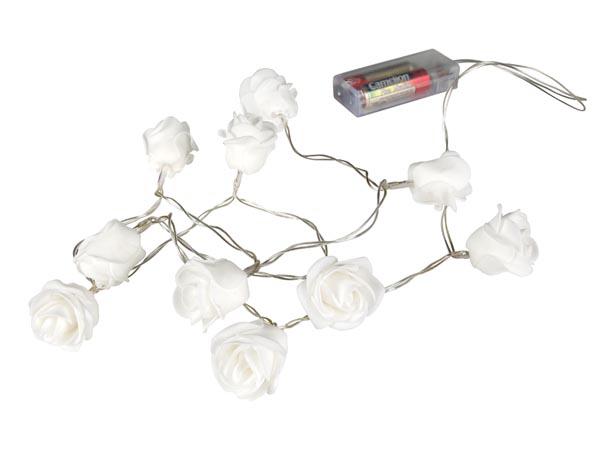 Cadeia de Luz LED para Natal - 10 LEDs - flores - Cor Branco Quente - XML30