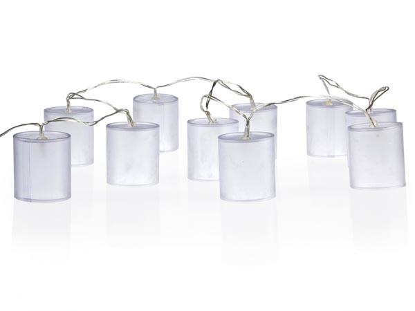 Cadena de Luz Navideña con LEDs - 10 LEDs - Bombillas de Forma Cilíndrica - Efecto de Holograma - XMPL9