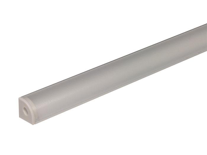 Perfil de alumínio para fita de LEDs - angle - tampa semi-mate - 1 m
