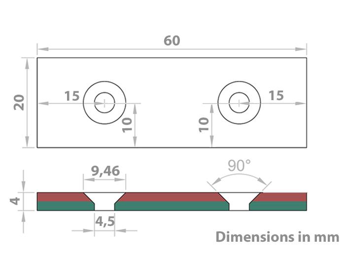 Aimant Néodyme - 60 x 20 x 4 mm - N45 - avec Trous pour Vis