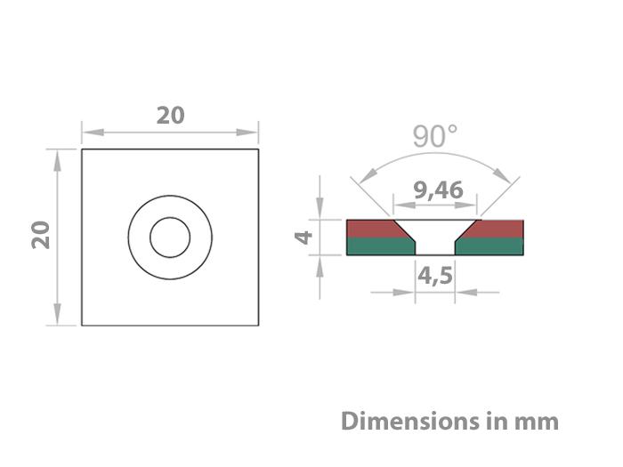 Aimant Néodyme - 20 x 20 x 4 mm - N45 - avec Trous pour Vis