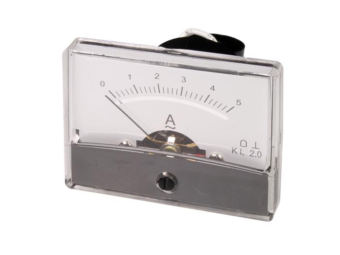 Instrumento Panel Amperímetro Analógico 60 x 47 mm - 5 A ca