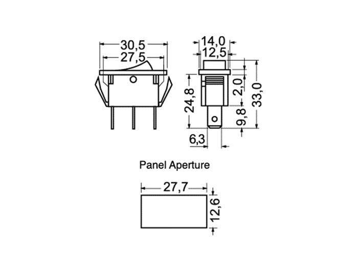 Bulgin - Interrupteur Commutateur à Bascule 3P 1C - Bouton Noire - C1520ALMBB730W