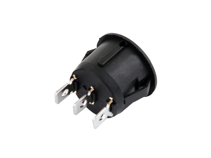 Interrupteur Commutateur à Bascule 2P 1C - Circulaire 14 mm - Bouton Noir - Miniature