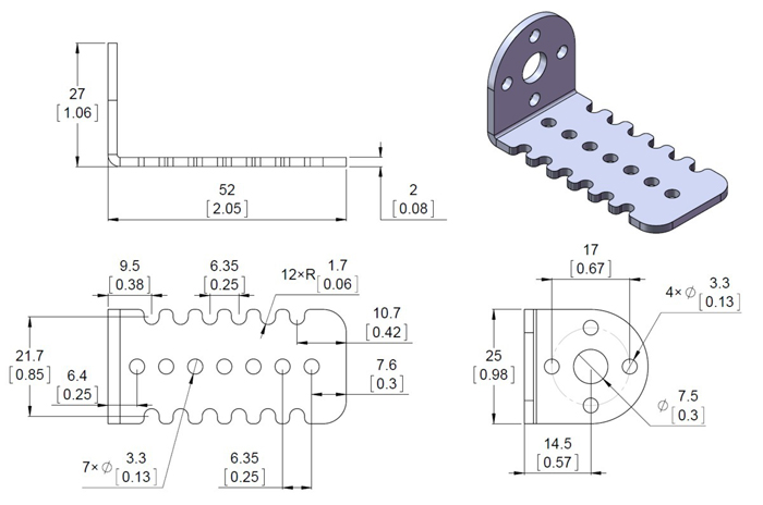 Metal Bracket Pair for 25D Motor - 2676