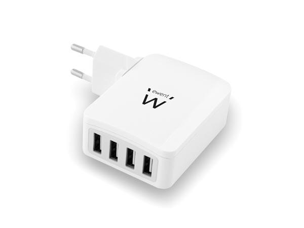 Alimentador compacto comutado de parede 5 VDC USB - 5,4 A - carregador 4 saídas USB