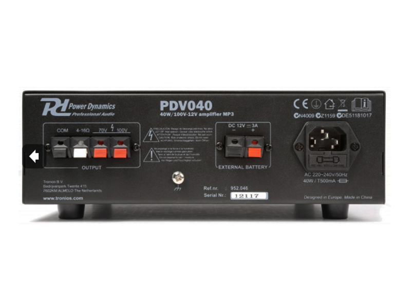 Power Dynamics PDV040 - Amplifier Sound System MP3 - Amplifier 40 W - 100 V - 12 V