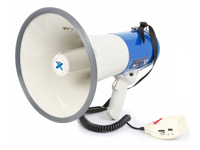 Power megaphone 55 W with handheld microphone, USB, sd, bluetooth and recording function