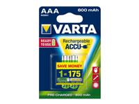 Varta LR03 - 1.2 V - 800 mAh NiMH AAA Battery - 2 Unit Blister Pack - 56813101402