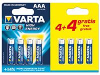 Varta LR03 - Pila Alcalina 1,5 V AAA - Blister 8 Unidades - 4008496568857