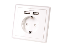 SCHUKO Double Wall Socket - Built In USB Charger - 2 USB Outputs 5 V