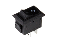 2P 1C - Miniature rocker switch - black button