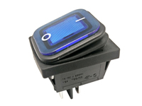2P 2C - Rocker switch - waterproof - blue button - illuminated