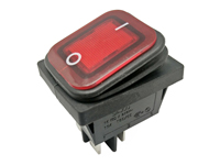 2P 2C - Rocker switch - waterproof - red button - illuminated