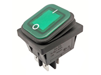 2P 2C - Rocker switch - waterproof - green button - illuminated
