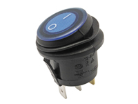 2P 1C - Rocker switch - waterproof - blue button - illuminated