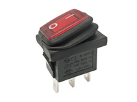 2P 1C - Rocker switch - waterproof - red button - illuminated