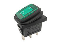 2P 1C - Rocker switch - waterproof - green button - illuminated