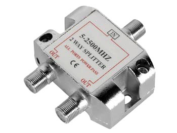 F Splitter Connector, 1 Input and 2 Outputs
