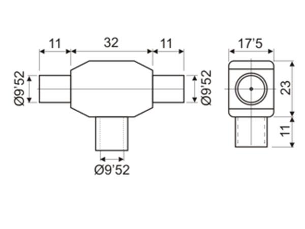 9.5 mm TV Connector Splitter, 1 Male - 2 Females