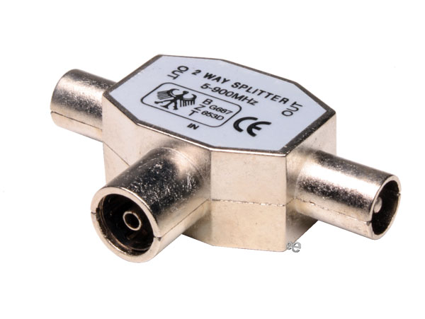 9.5 mm TV connector splitter, 1 female - 2 males