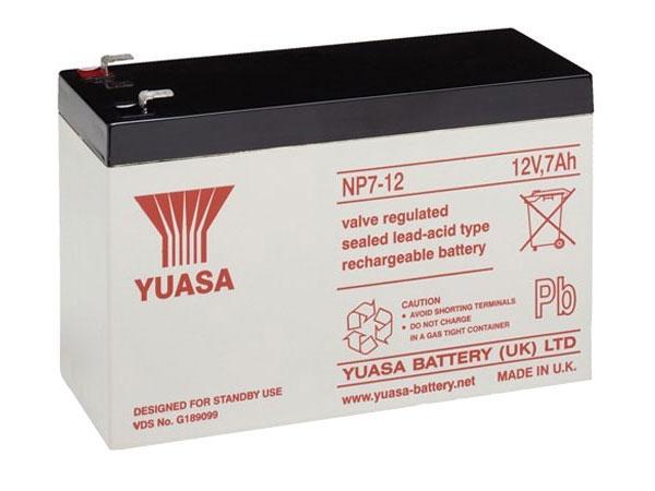 YUASA - NP7-12 : 12 V - 7 AH lead-acid battery