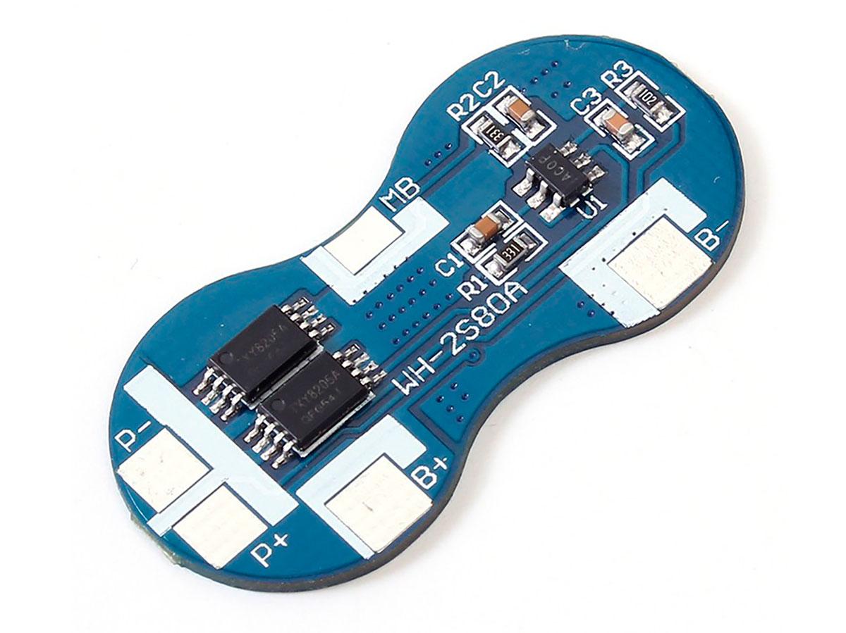 BMS - Módulo Cargador Protector para 2 Baterías Ión Litio 18650 - 7,4 V - 4 A