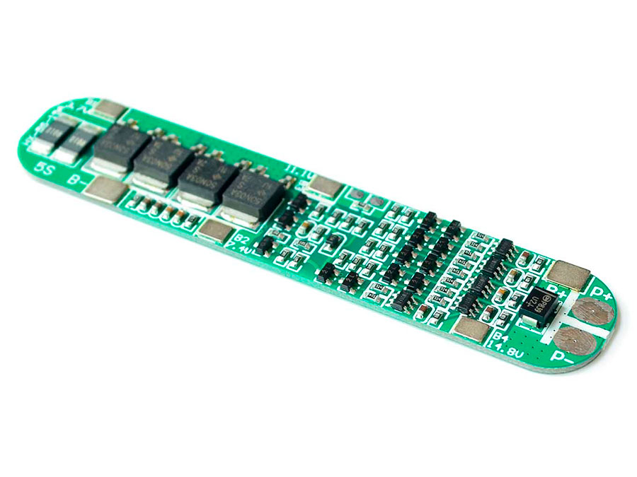 BMS - Módulo Cargador Protector para 5 Baterías Ión Litio 18650 - 18,5 V - 15 A